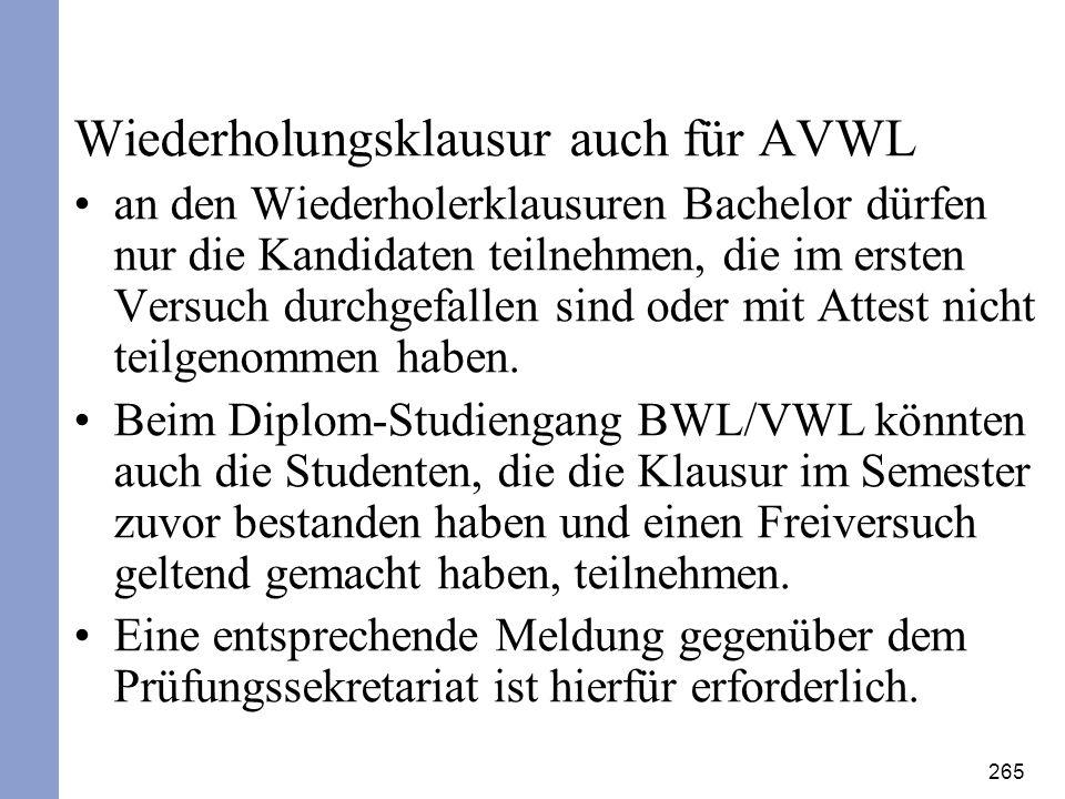 Wiederholungsklausur auch für AVWL