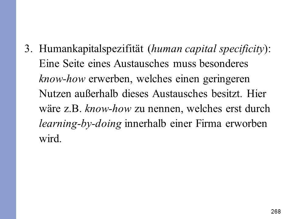 Humankapitalspezifität (human capital specificity): Eine Seite eines Austausches muss besonderes know-how erwerben, welches einen geringeren Nutzen außerhalb dieses Austausches besitzt.