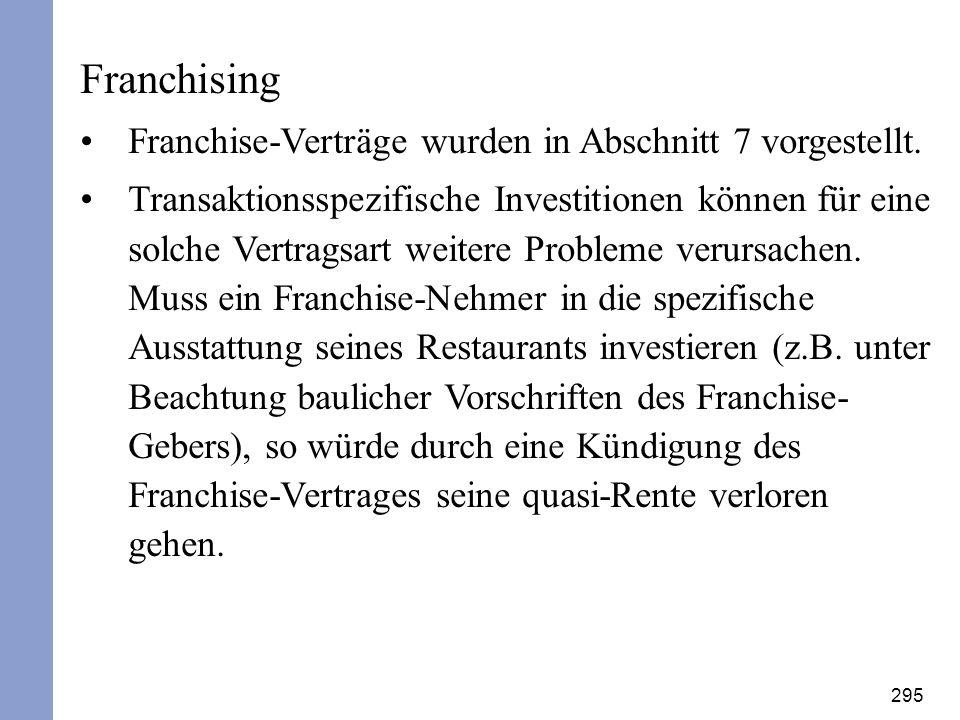 Franchising Franchise-Verträge wurden in Abschnitt 7 vorgestellt.