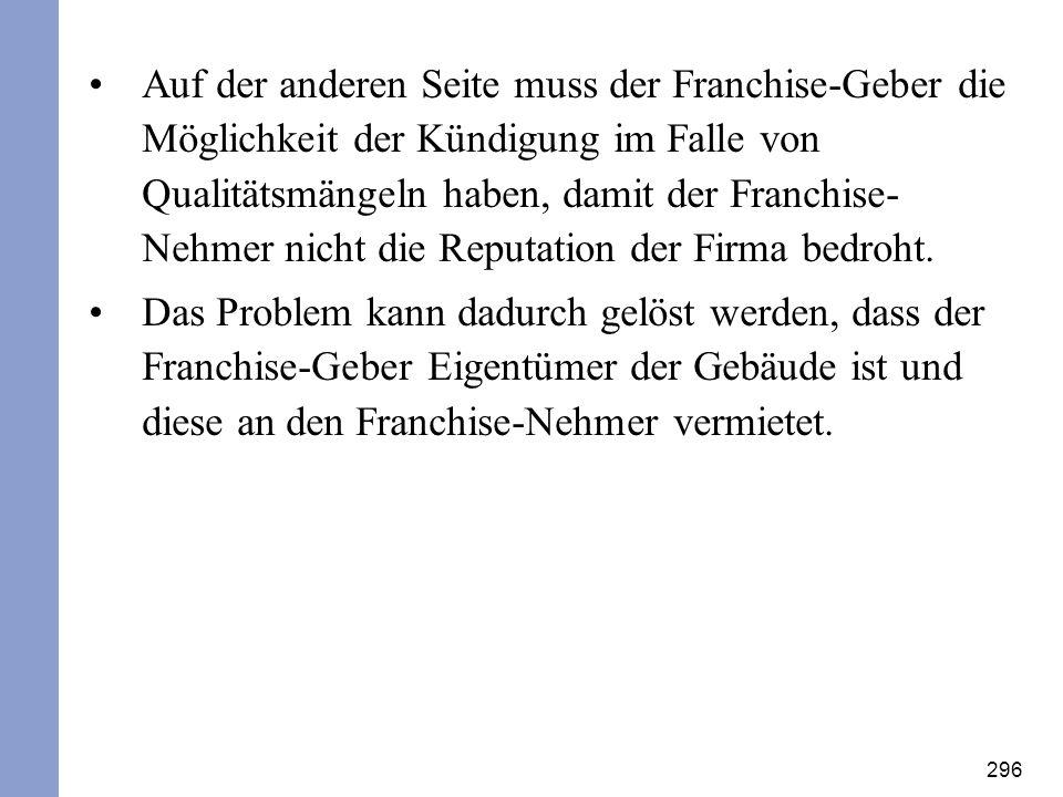 Auf der anderen Seite muss der Franchise-Geber die Möglichkeit der Kündigung im Falle von Qualitätsmängeln haben, damit der Franchise-Nehmer nicht die Reputation der Firma bedroht.