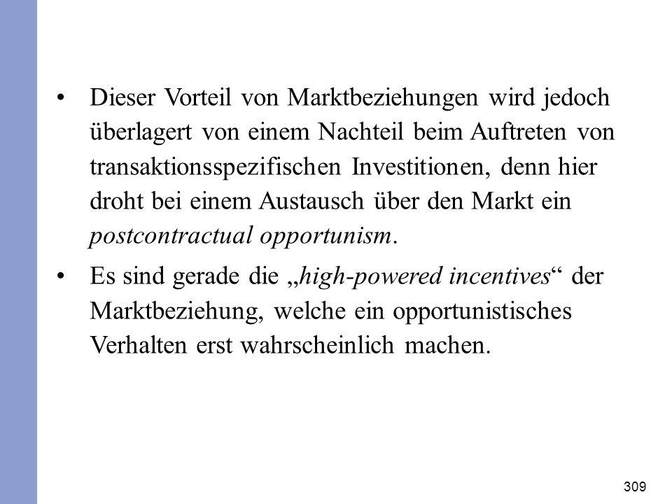 Dieser Vorteil von Marktbeziehungen wird jedoch überlagert von einem Nachteil beim Auftreten von transaktionsspezifischen Investitionen, denn hier droht bei einem Austausch über den Markt ein postcontractual opportunism.