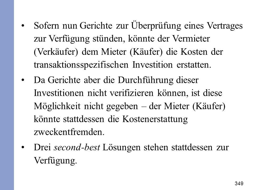 Sofern nun Gerichte zur Überprüfung eines Vertrages zur Verfügung stünden, könnte der Vermieter (Verkäufer) dem Mieter (Käufer) die Kosten der transaktionsspezifischen Investition erstatten.
