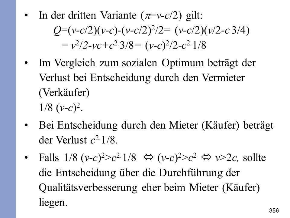 Bei Entscheidung durch den Mieter (Käufer) beträgt der Verlust c2.1/8.