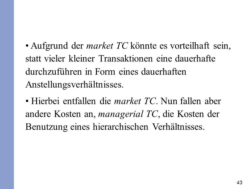 Aufgrund der market TC könnte es vorteilhaft sein, statt vieler kleiner Transaktionen eine dauerhafte durchzuführen in Form eines dauerhaften Anstellungsverhältnisses.