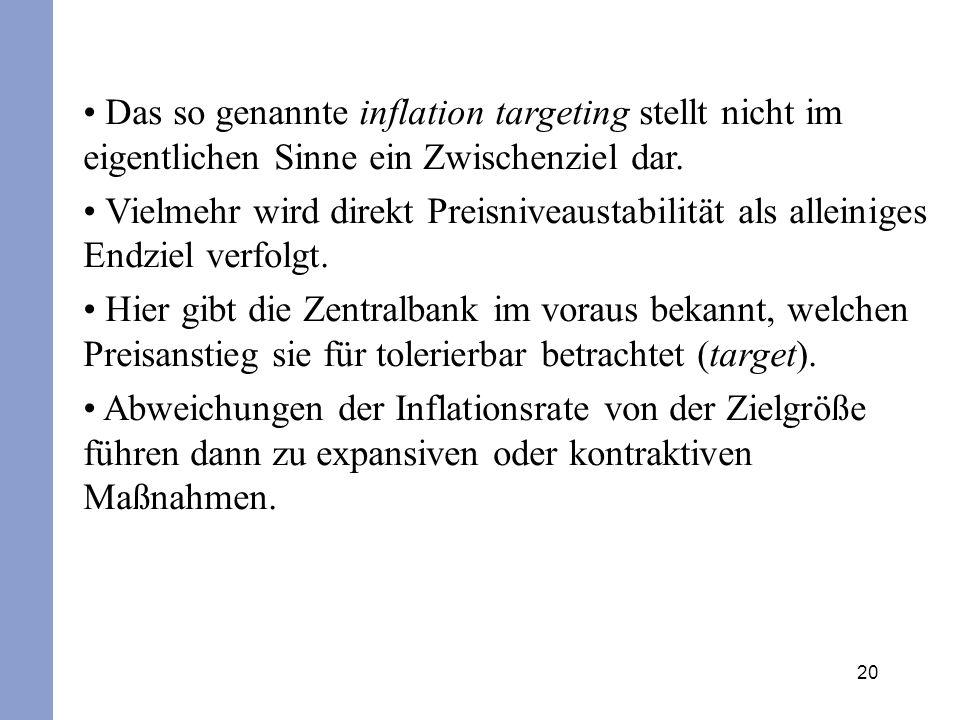 Das so genannte inflation targeting stellt nicht im eigentlichen Sinne ein Zwischenziel dar.