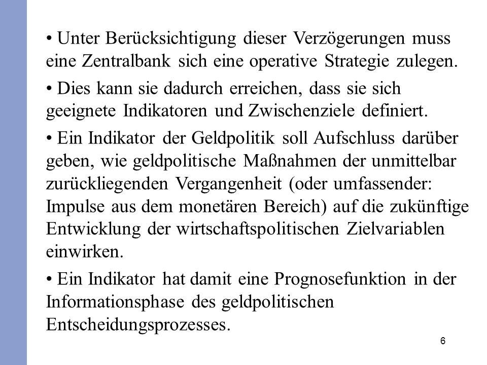 Unter Berücksichtigung dieser Verzögerungen muss eine Zentralbank sich eine operative Strategie zulegen.