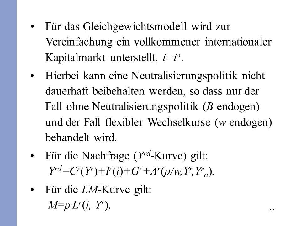Für das Gleichgewichtsmodell wird zur Vereinfachung ein vollkommener internationaler Kapitalmarkt unterstellt, i=ia.