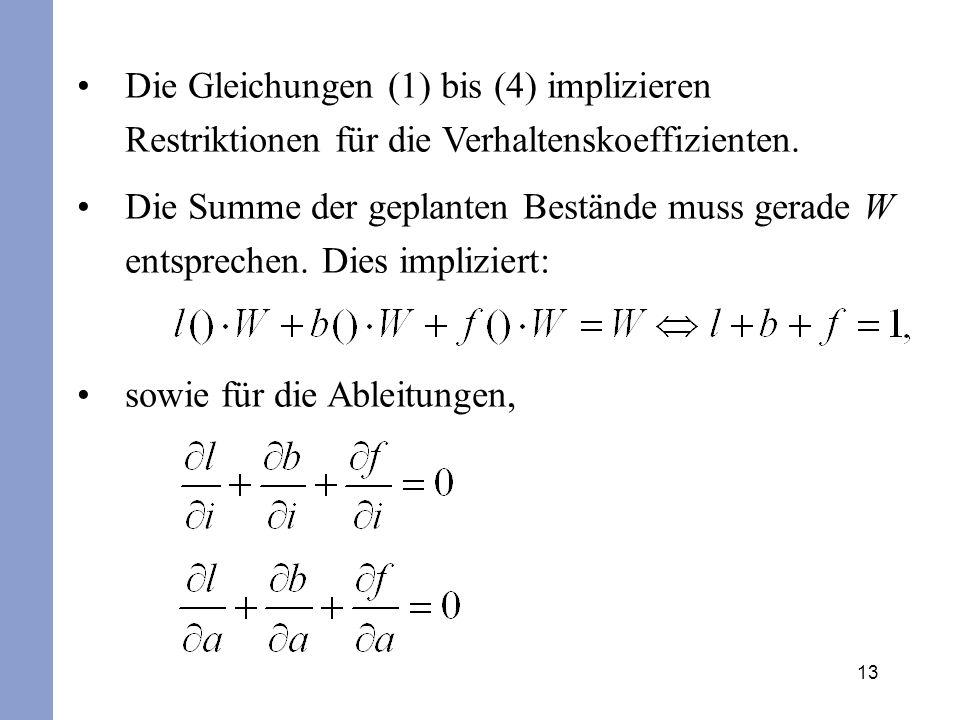 Die Gleichungen (1) bis (4) implizieren Restriktionen für die Verhaltenskoeffizienten.