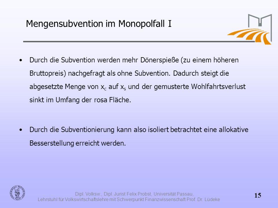 Mengensubvention im Monopolfall I