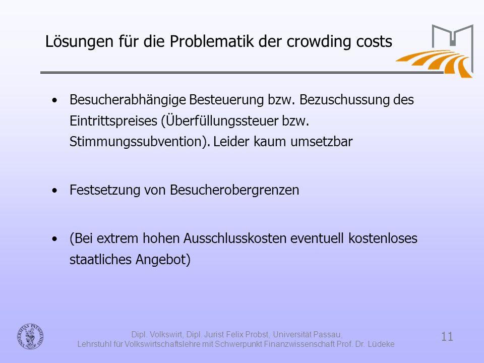 Lösungen für die Problematik der crowding costs