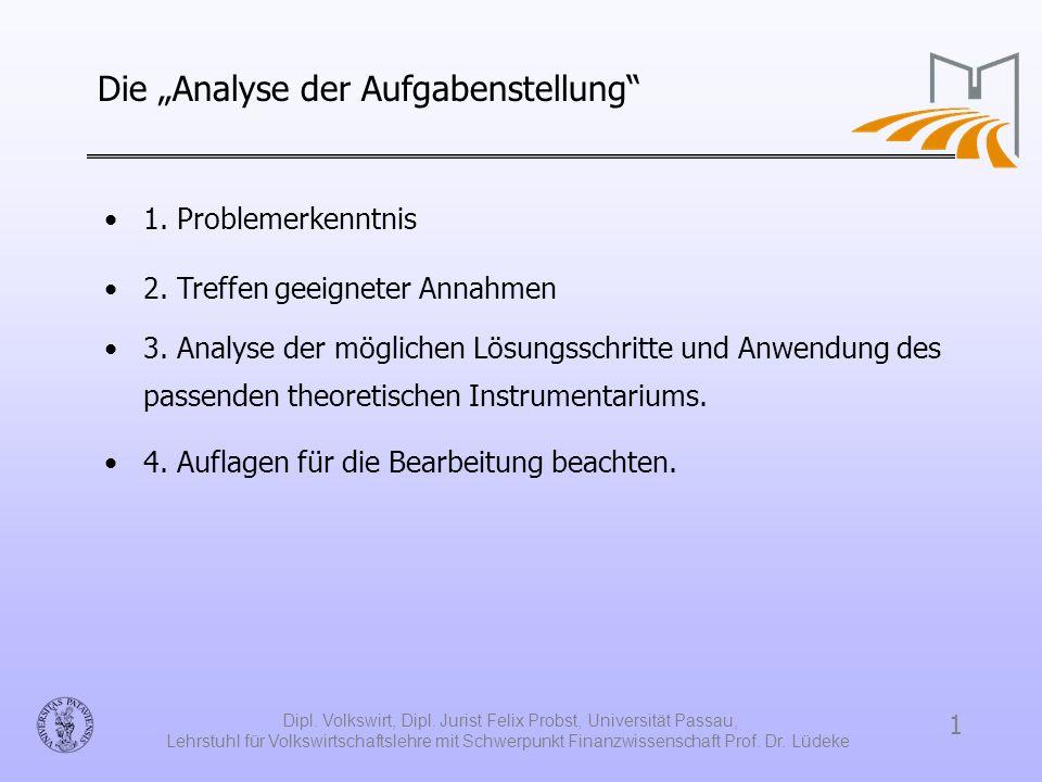 """Die """"Analyse der Aufgabenstellung"""