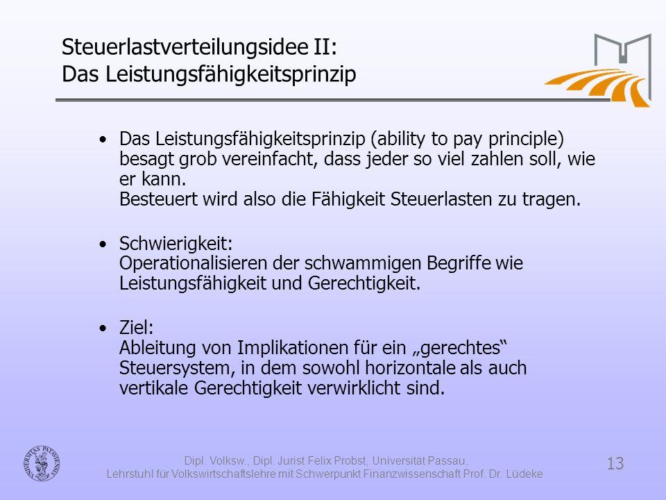 Steuerlastverteilungsidee II: Das Leistungsfähigkeitsprinzip