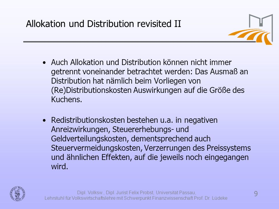 Allokation und Distribution revisited II