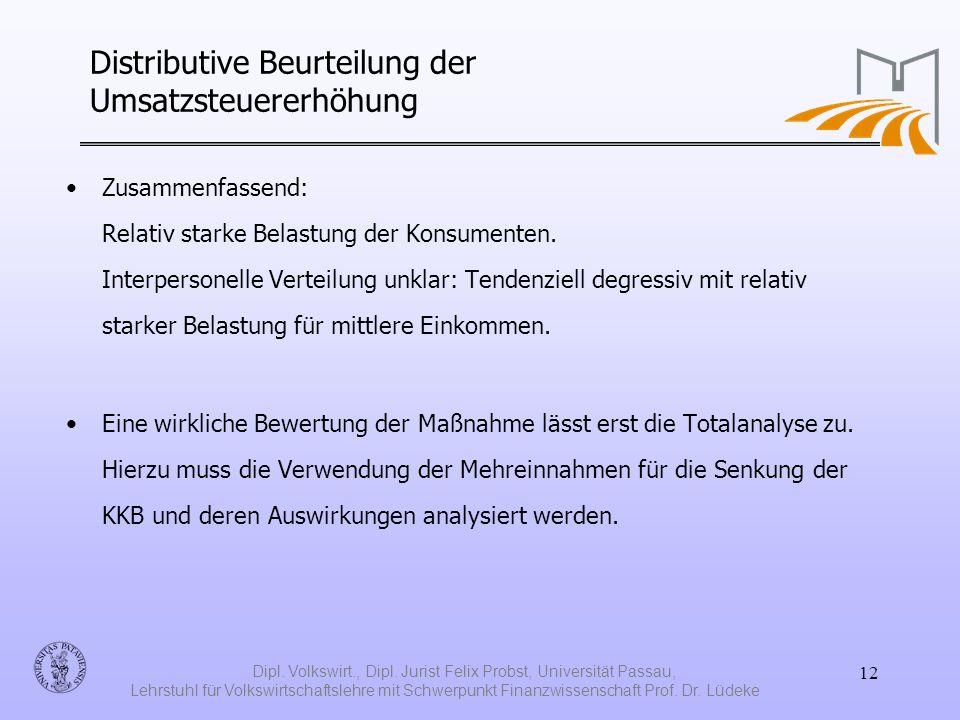 Distributive Beurteilung der Umsatzsteuererhöhung