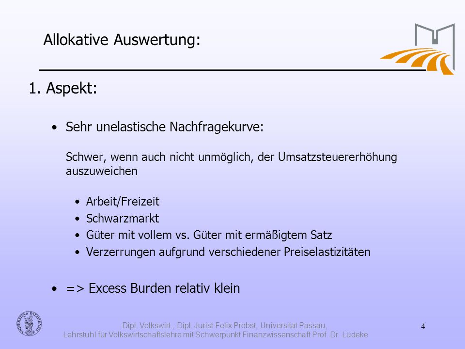 Allokative Auswertung: