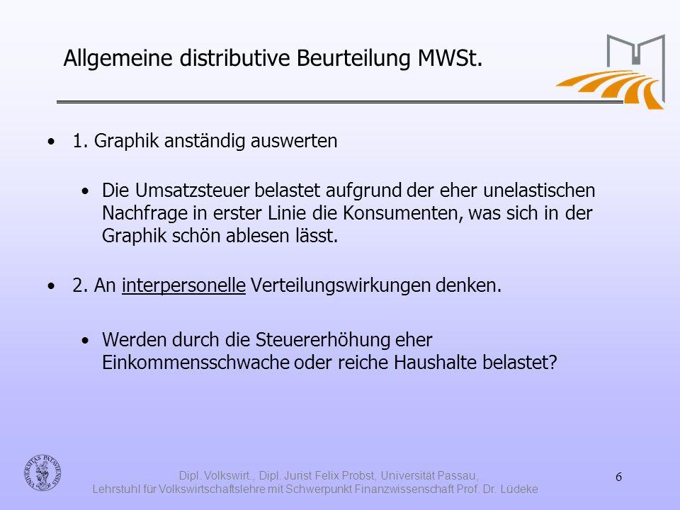 Allgemeine distributive Beurteilung MWSt.