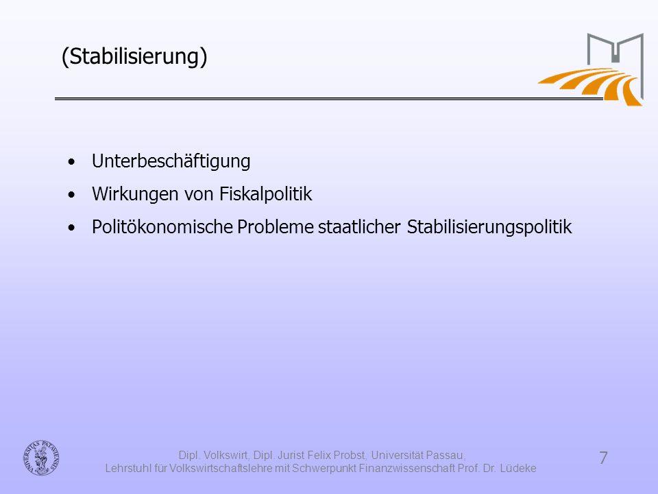 Dipl. Volkswirt, Dipl. Jurist Felix Probst, Universität Passau,