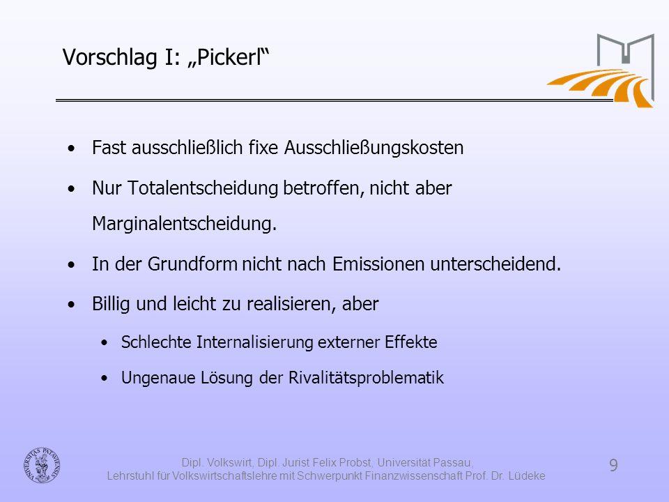 """Vorschlag I: """"Pickerl"""