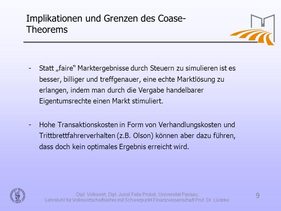 Implikationen und Grenzen des Coase-Theorems