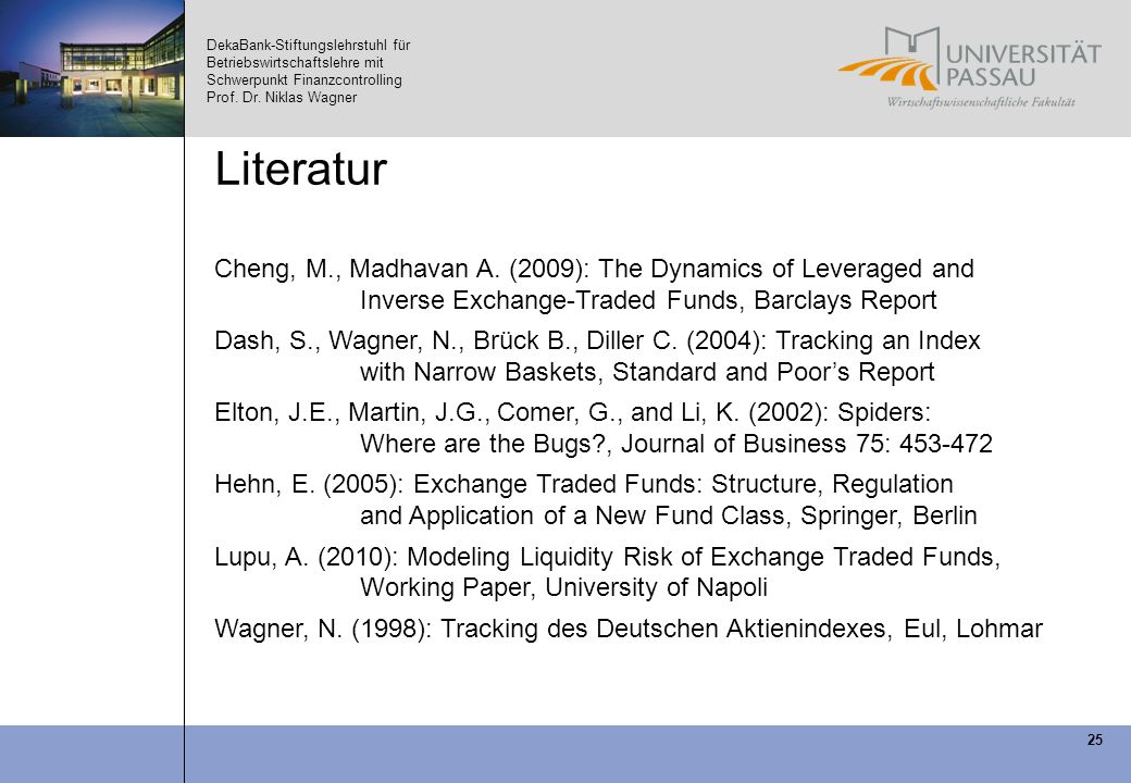 Literatur Cheng, M., Madhavan A. (2009): The Dynamics of Leveraged and Inverse Exchange-Traded Funds, Barclays Report.