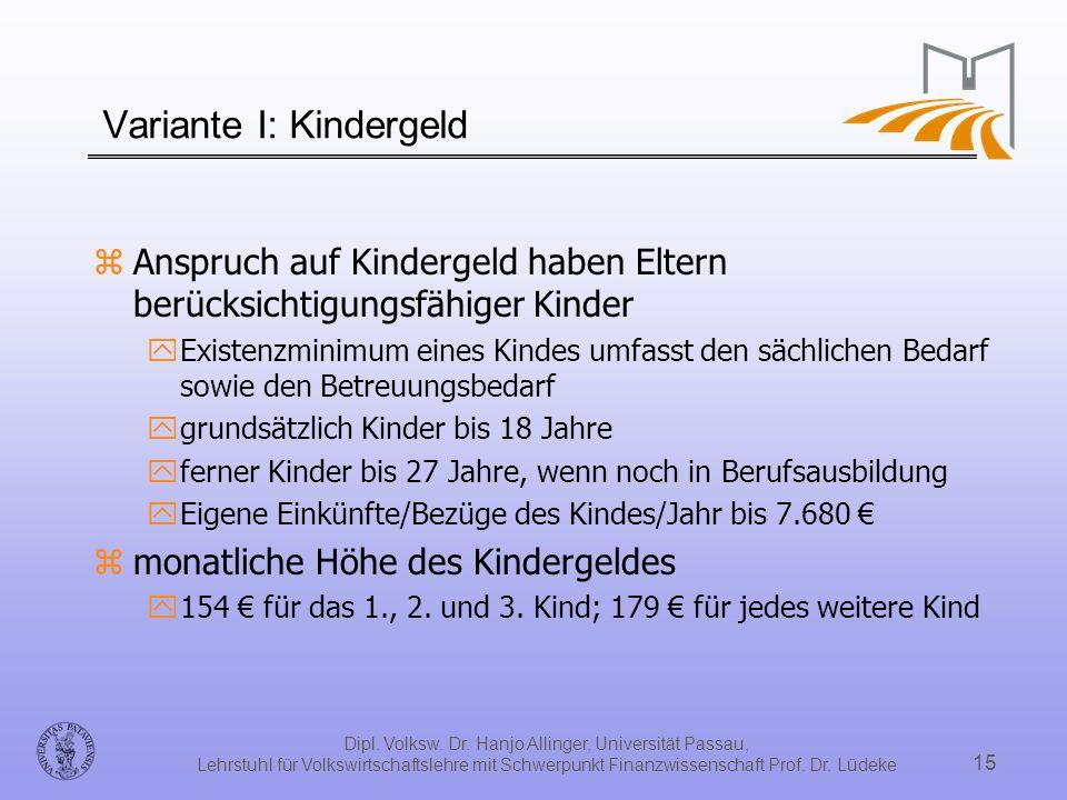 Variante I: Kindergeld