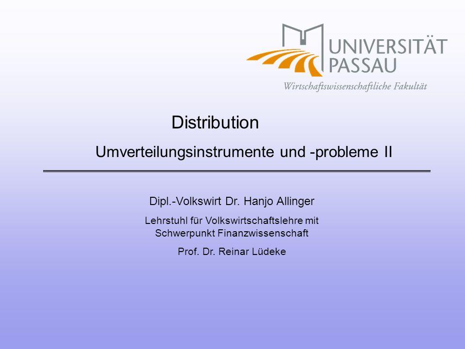 Umverteilungsinstrumente und -probleme II