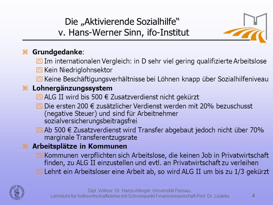 """Die """"Aktivierende Sozialhilfe v. Hans-Werner Sinn, ifo-Institut"""