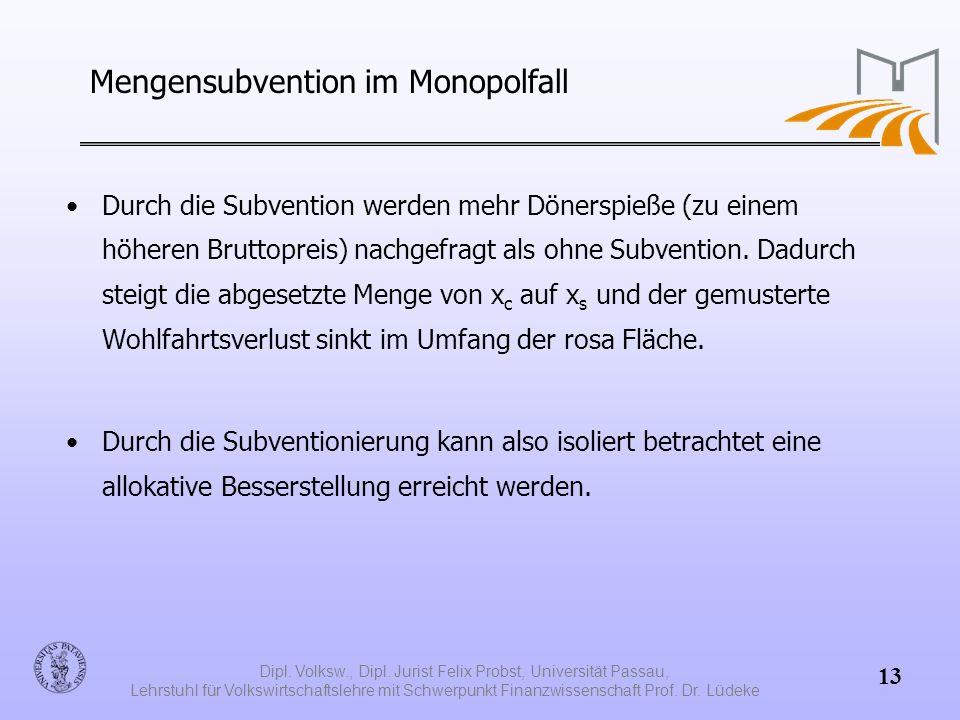 Mengensubvention im Monopolfall