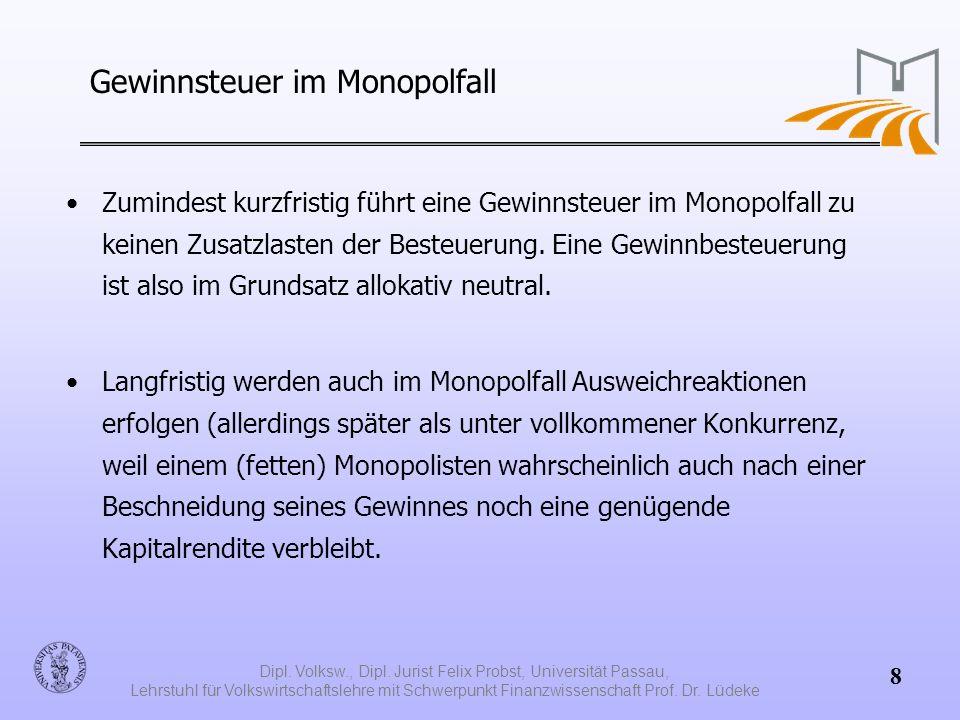Gewinnsteuer im Monopolfall