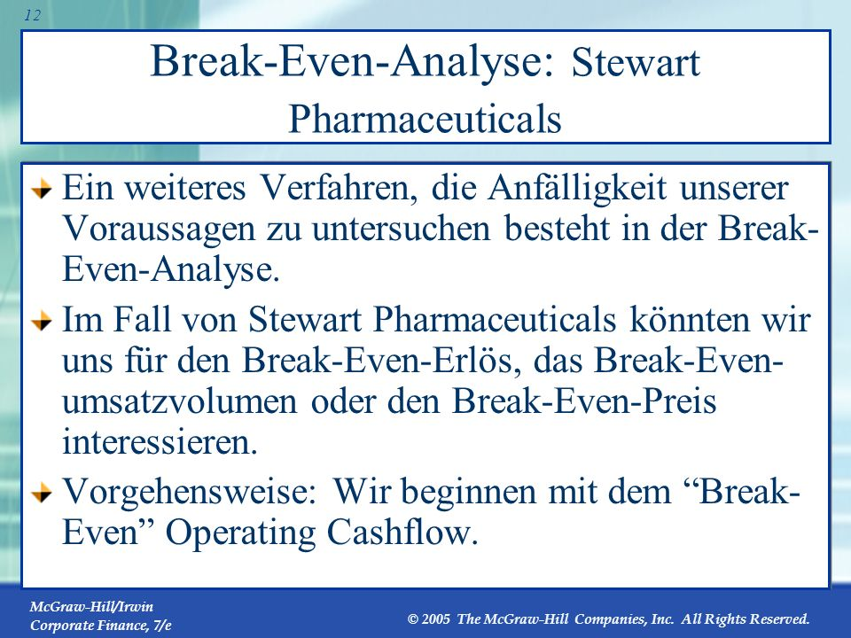 Break-Even-Analyse: Stewart Pharmaceuticals