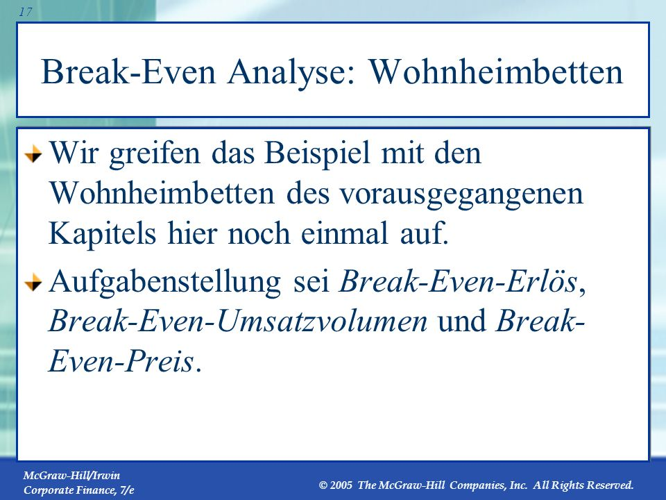 Break-Even Analyse: Wohnheimbetten