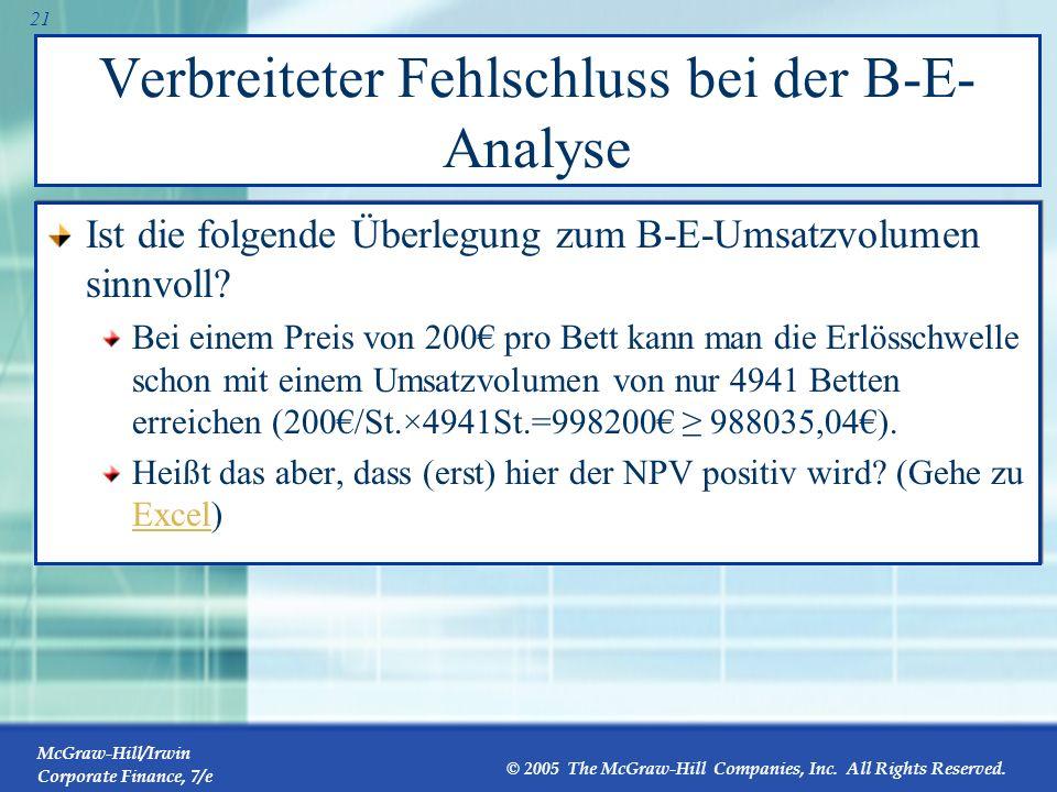 Verbreiteter Fehlschluss bei der B-E-Analyse