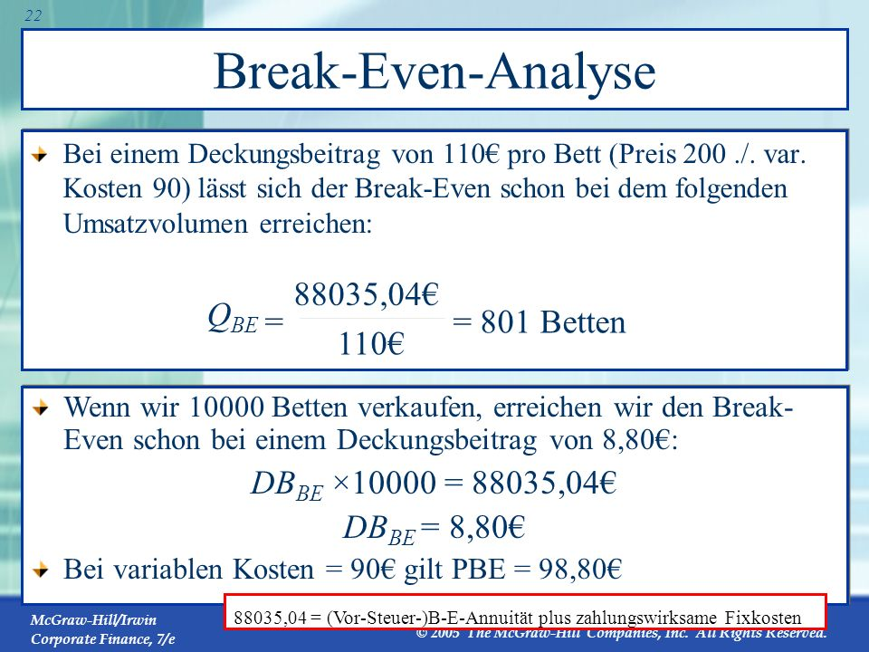 Break-Even-Analyse QBE = = 801 Betten 110€ 88035,04€