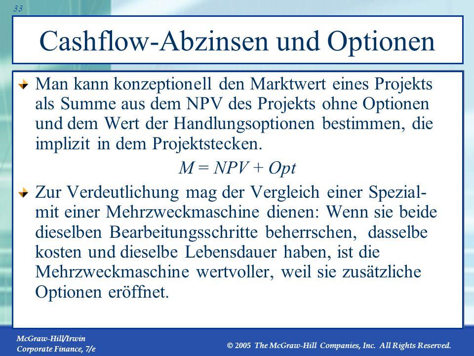 Cashflow-Abzinsen und Optionen