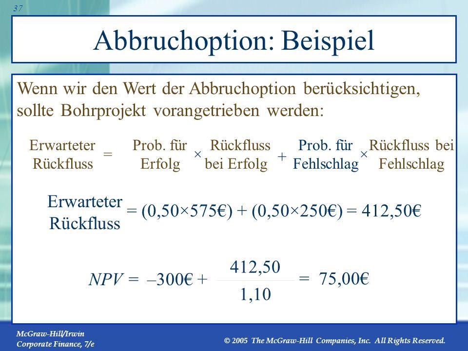 Abbruchoption: Beispiel