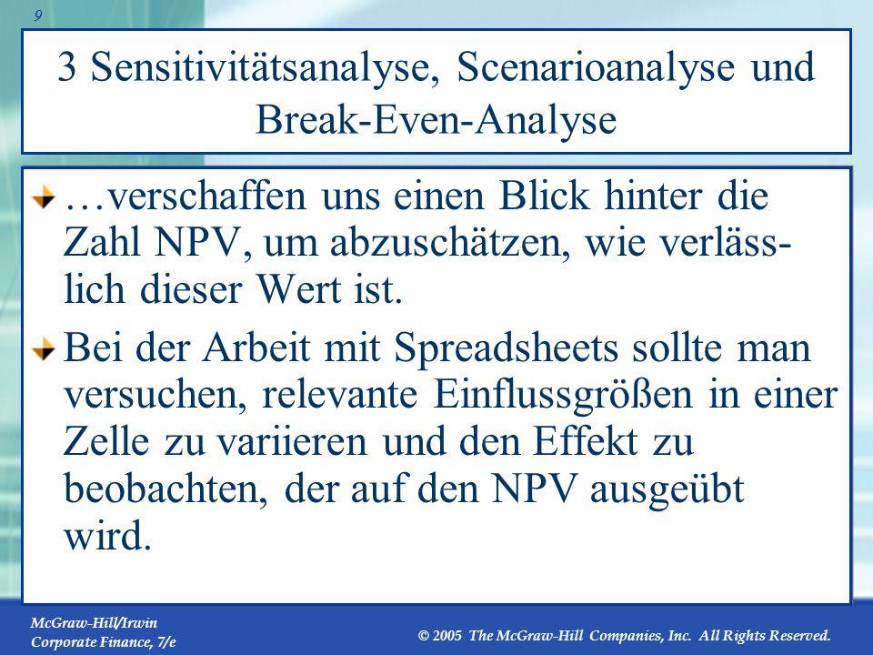 3 Sensitivitätsanalyse, Scenarioanalyse und Break-Even-Analyse