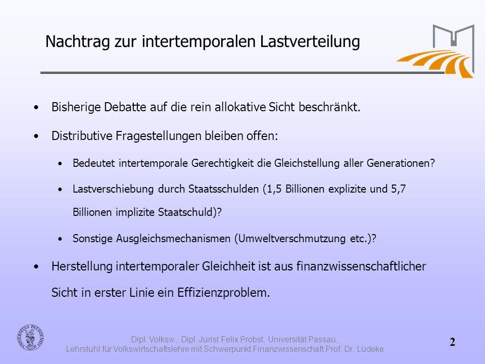 Nachtrag zur intertemporalen Lastverteilung