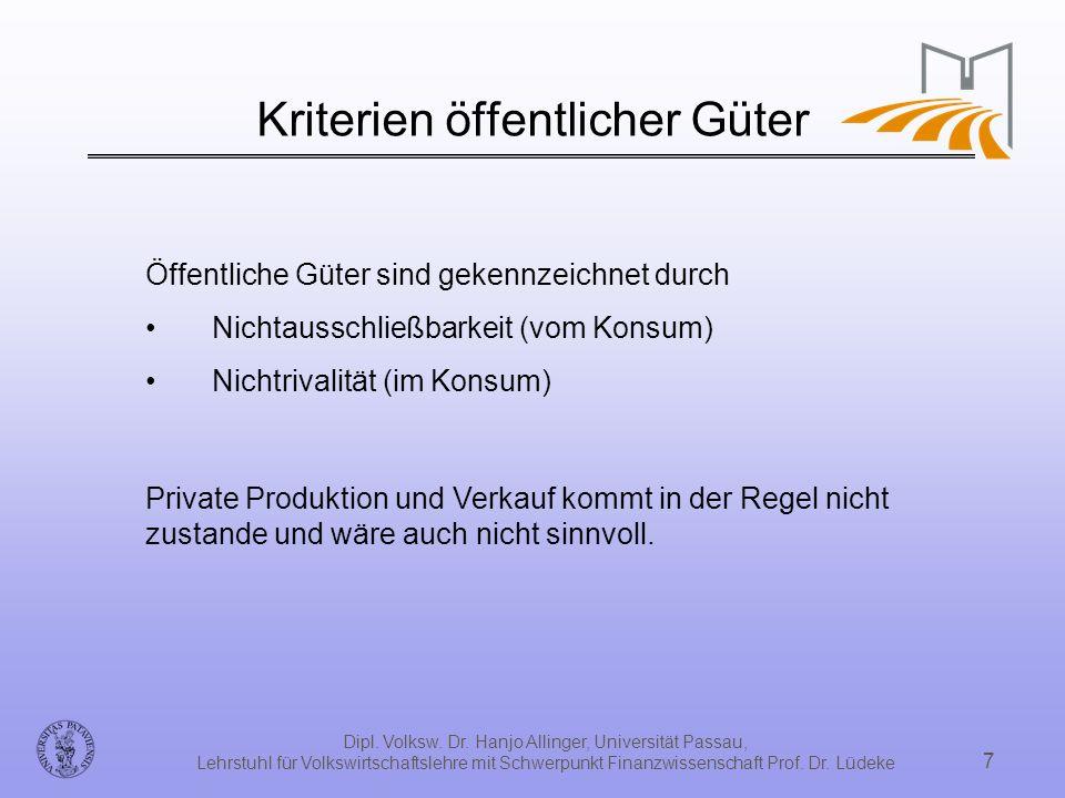 Kriterien öffentlicher Güter