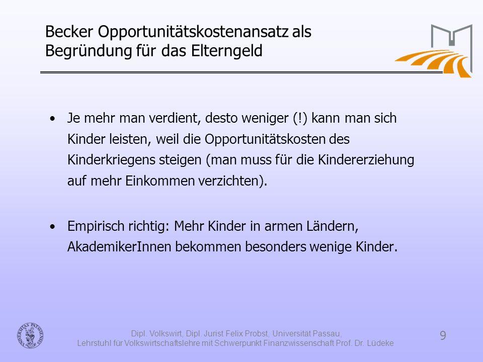 Becker Opportunitätskostenansatz als Begründung für das Elterngeld