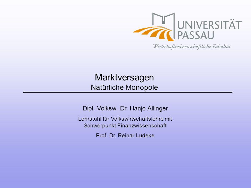 Marktversagen Natürliche Monopole
