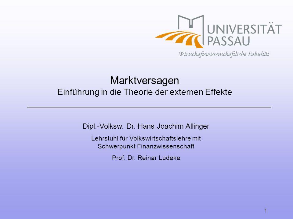 Marktversagen Einführung in die Theorie der externen Effekte