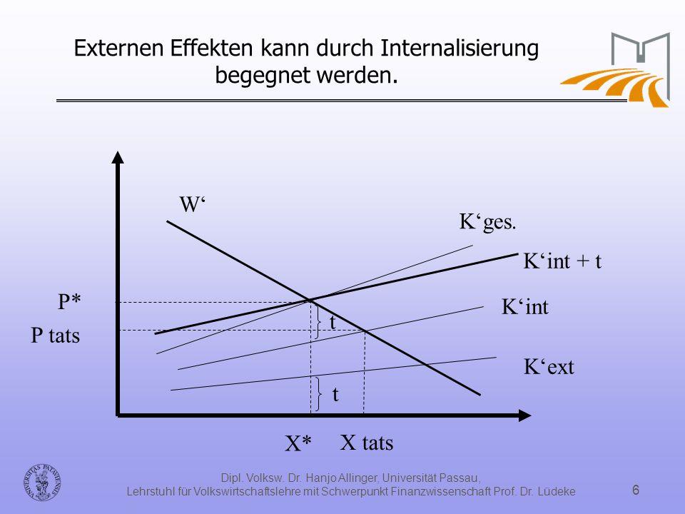 Externen Effekten kann durch Internalisierung begegnet werden.
