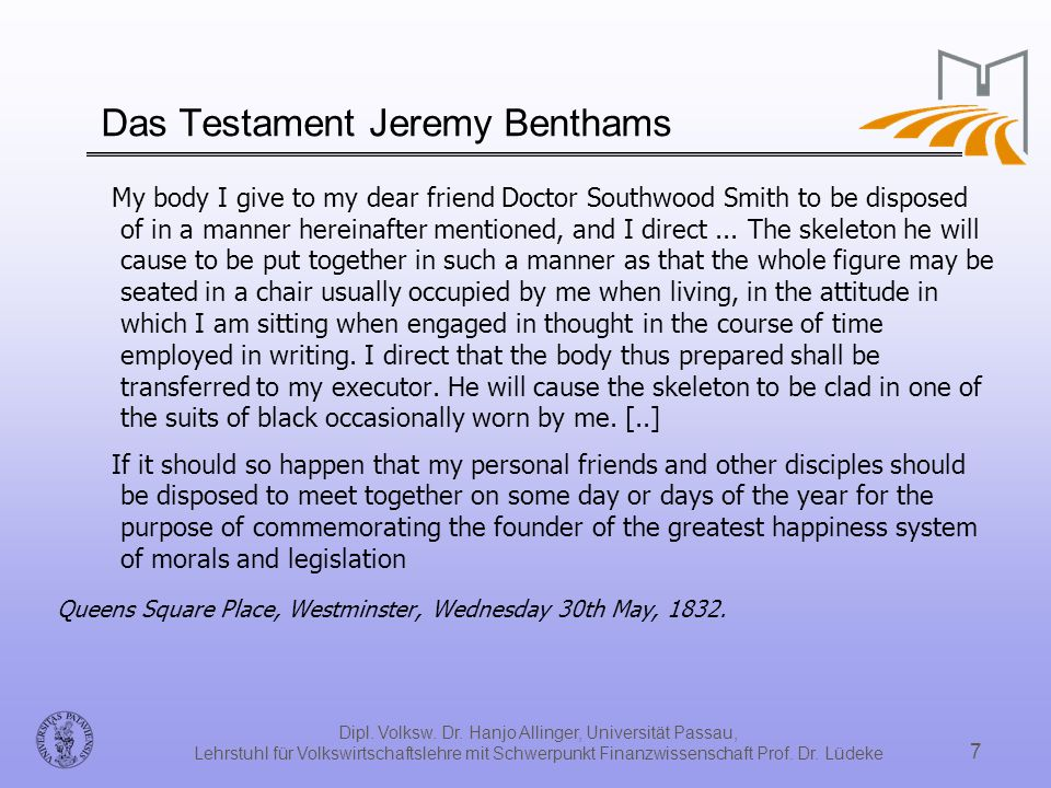 Das Testament Jeremy Benthams