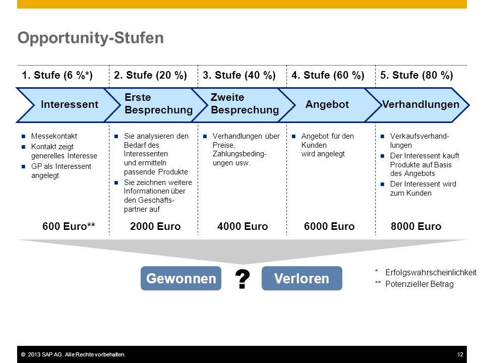 Opportunity-Stufen Gewonnen Verloren 1. Stufe (6 %*) 2. Stufe (20 %)
