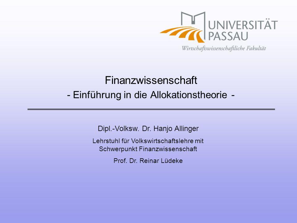 Finanzwissenschaft - Einführung in die Allokationstheorie -