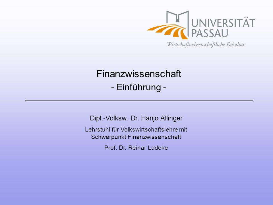 Finanzwissenschaft - Einführung -