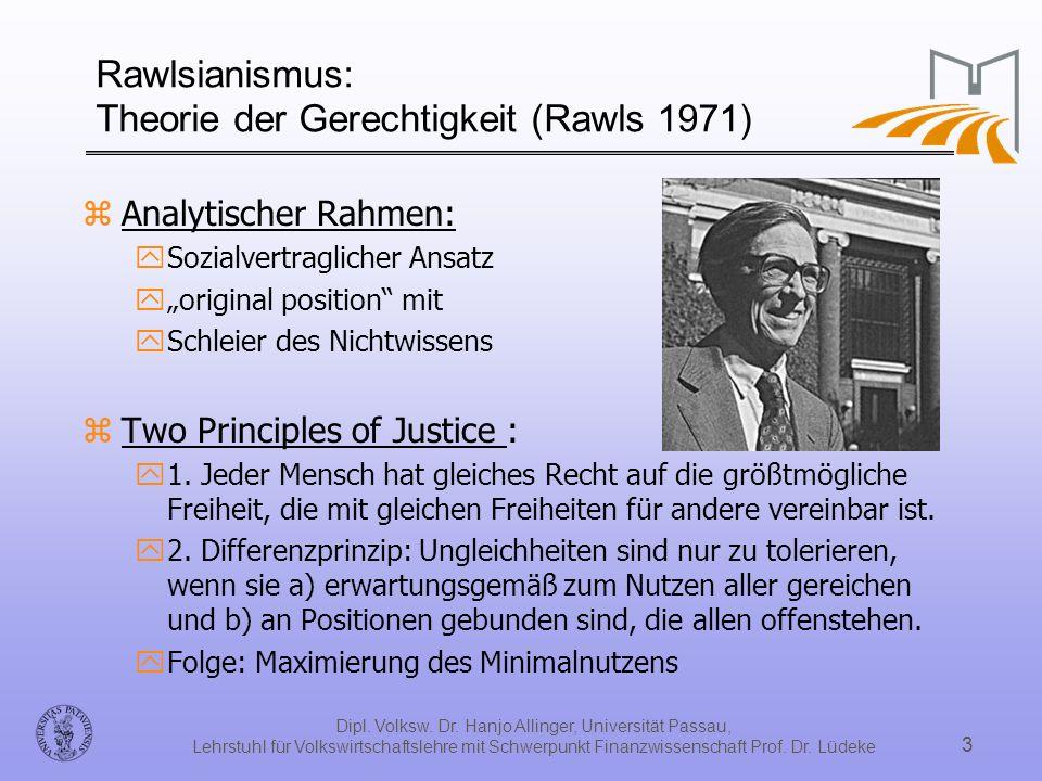 Rawlsianismus: Theorie der Gerechtigkeit (Rawls 1971)