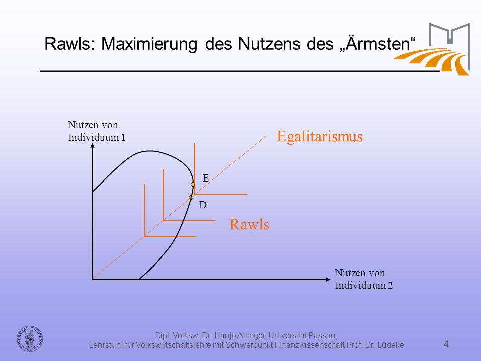 """Rawls: Maximierung des Nutzens des """"Ärmsten"""