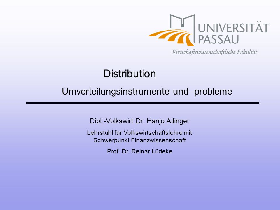 Umverteilungsinstrumente und -probleme