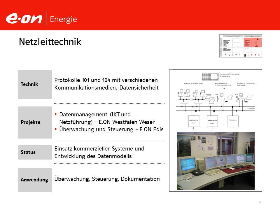 Netzleittechnik Technik. Protokolle 101 und 104 mit verschiedenen Kommunikationsmedien; Datensicherheit.
